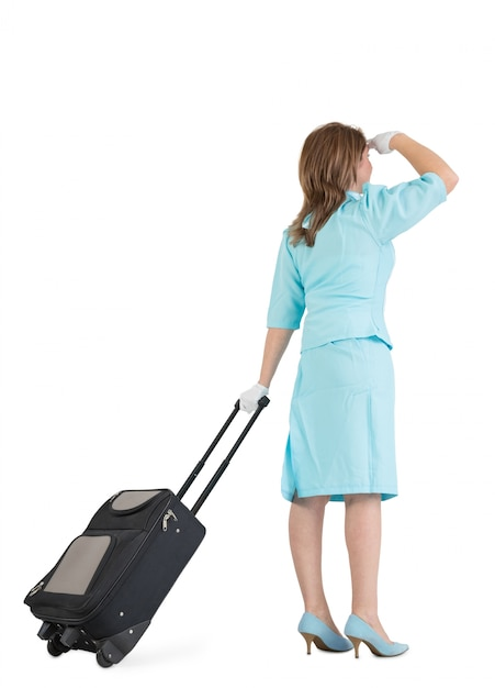 Hostess in uniforme blu con la sua borsa Foto Premium