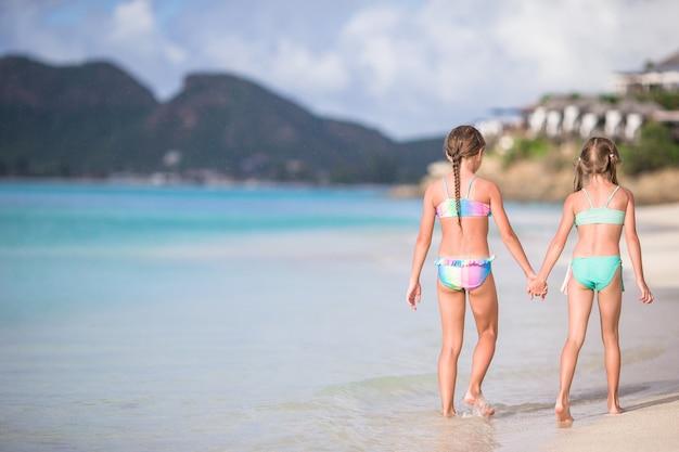 I bambini si divertono in spiaggia tropicale durante le vacanze estive che giocano insieme. Foto Premium
