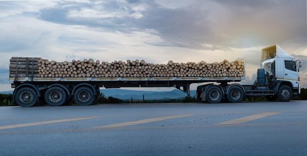 I camion bianchi caricati del legname che arrivano e parcheggiano sulla strada asfaltata in un paesaggio rurale Foto Premium