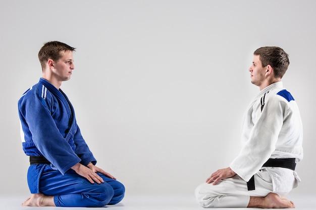 I due judoka combattenti che combattono uomini Foto Gratuite