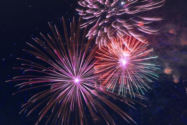 I fuochi d'artificio illuminano i precedenti del fuoco d'artificio colorati cielo Foto Premium