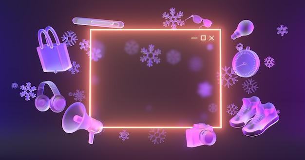 Icona del sito web luce al neon luminosa e oggetti dello shopping 3d con icone di neve. Foto Premium