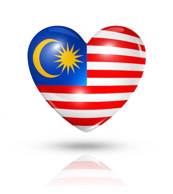 Icona della bandiera del cuore di amore malesia Foto Premium