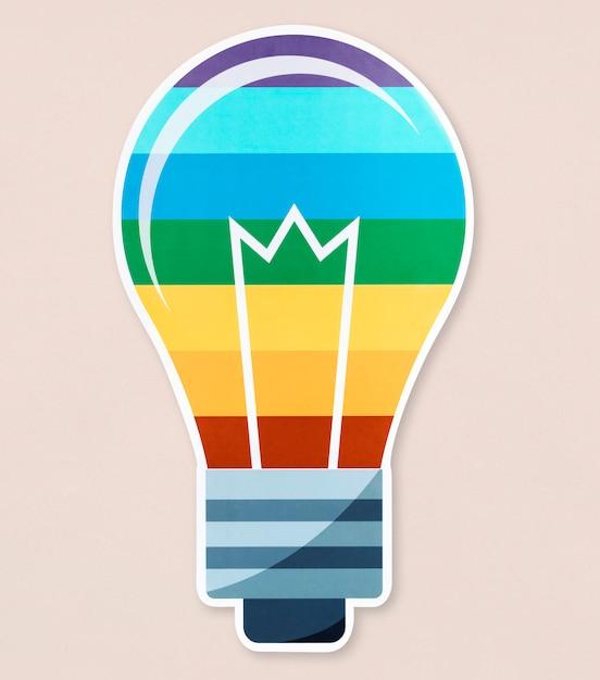 Icona della lampadina lgbt su isolato Foto Gratuite