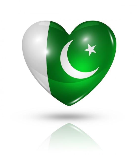Icona di bandiera del cuore di amore pakistan Foto Premium