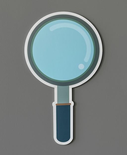 Icona di ricerca della lente d'ingrandimento isolata Foto Gratuite