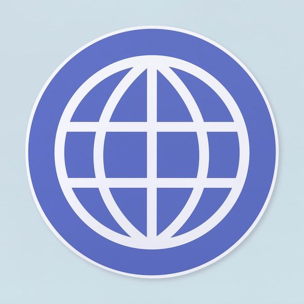 Icona di ricerca globale su sfondo bianco Foto Gratuite