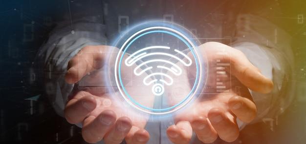 Icona di wifi della tenuta dell'uomo d'affari con le statistiche e la rappresentazione di codice binario 3d Foto Premium