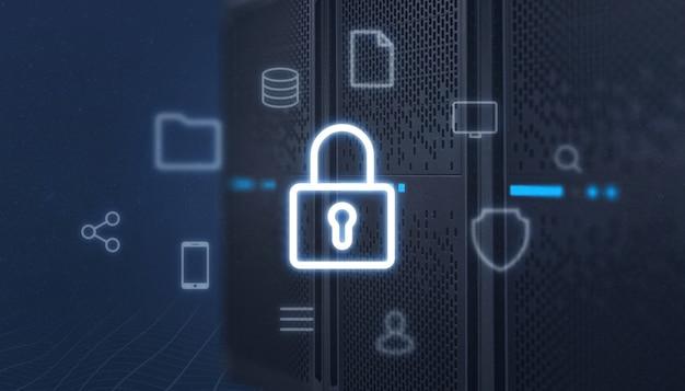 Icona lucchetto frontale del server, circondata da icone di servizi online. concetto di protezione dei dati, sicurezza. Foto Premium