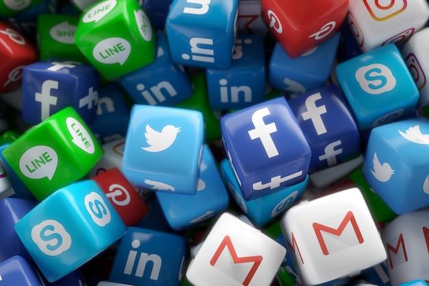 Icone casuali 3d di app della rete di media sociali Foto Premium