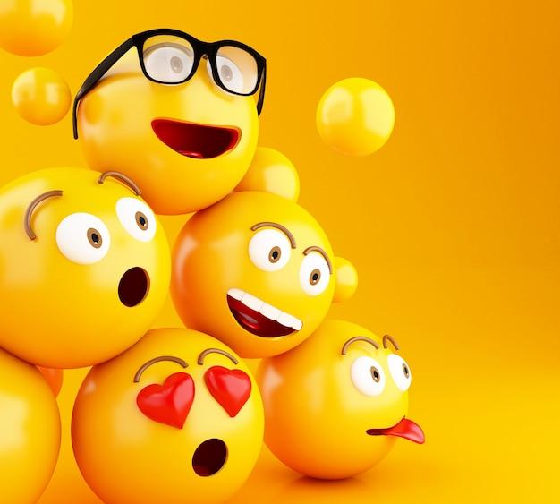 Icone di emoji 3d con espressioni facciali. Foto Premium