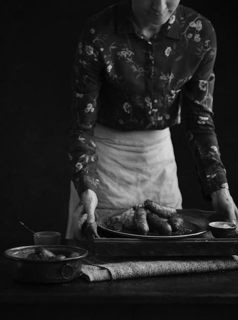 Idea di ricetta per la fotografia di cibo con bangers & mash Foto Gratuite