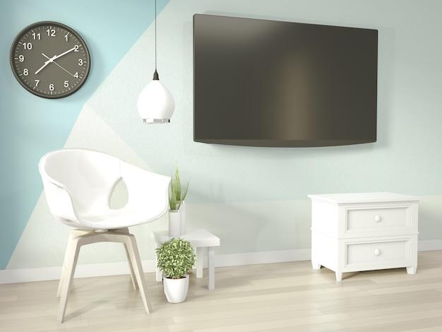 Idee di soggiorno azzurro e bianco geometrica wall art paint design stile completo di colore sul pavimento di legno Foto Premium