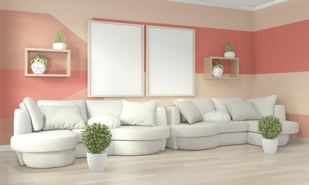 Idee di vivere il soggiorno di corallo geometrica wall art paint design stile completo di colore sul pavimento di legno Foto Premium