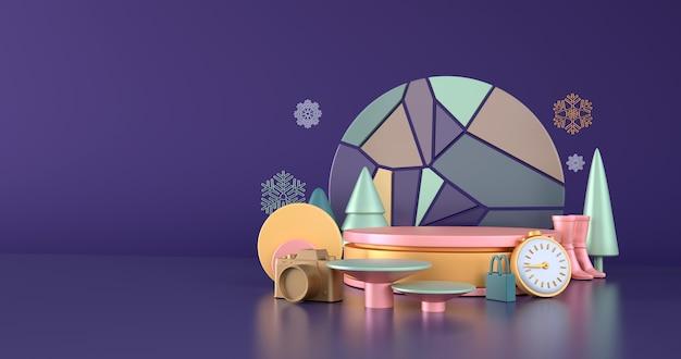 Idee per lo shopping invernale e podio in oro rosa su sfondo blu. Foto Premium