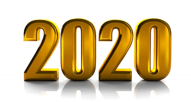 Il 2020 le lettere audaci dorate l'alta qualità 3d rende isolato su bianco Foto Premium