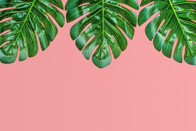 Il bello fondo floreale della palma tropicale va su fondo rosa disposizione piana Foto Premium