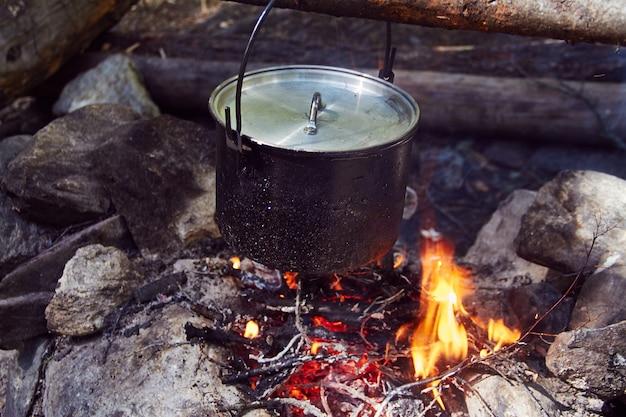 Il calderone bolle sul fuoco nella foresta. Foto Premium