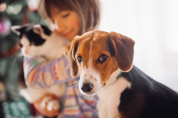 Il cane seduto vicino ragazza Foto Gratuite