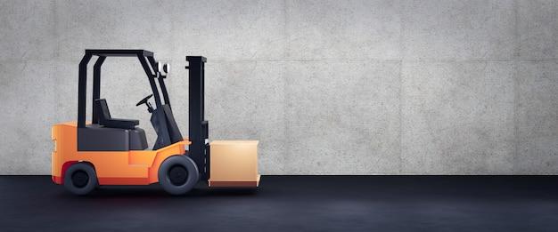 Il carrello elevatore davanti al muro di cemento con lo spazio della copia, 3d rende Foto Premium