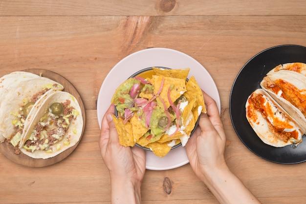 Il cibo messicano porta via eco-friendly Foto Premium