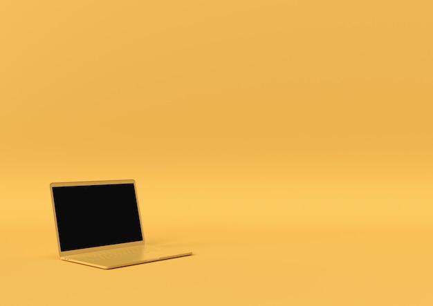 Il colore giallo del computer portatile con lo spazio della copia per il vostro testo, concetto minimo 3d rende, illustrazione 3d. Foto Premium