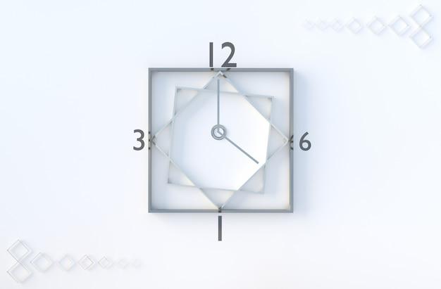 Il cubo di orologio geometrico bianco modella il fondo. Foto Premium
