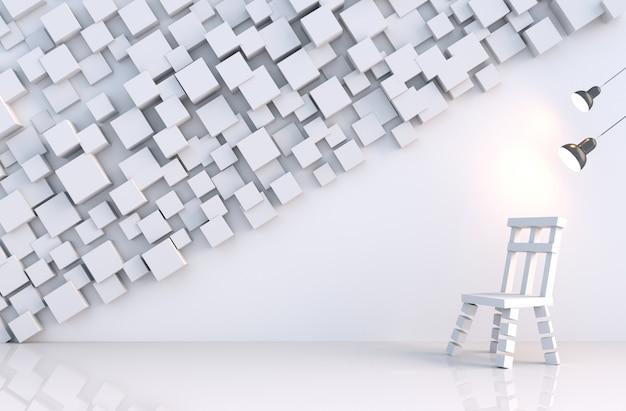 Il cubo geometrico bianco modella la parete nella stanza bianca Foto Premium