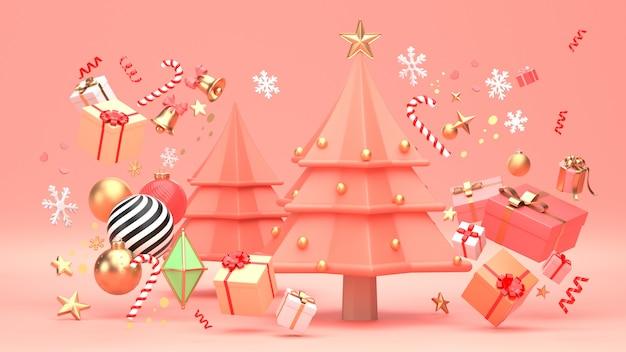 Il design dell'albero di natale per le vacanze di natale decora con forma geometrica ornamento e giftbox. Foto Premium
