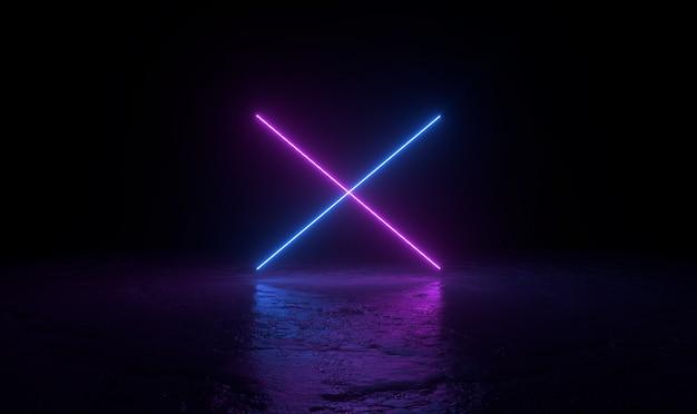 Il fondo astratto 3d rende, due neon rosa e blu si accendono sull'illustrazione della terra, del retrowave e del synthwave. Foto Premium