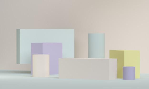 Il fondo astratto minimalista, le figure geometriche primitive, 3d rende. Foto Premium