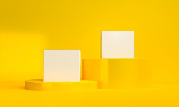 Il fondo astratto minimalista, le figure geometriche primitive, i colori pastelli, 3d rende. Foto Premium