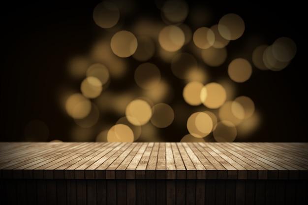 Il fondo di natale 3d con la tavola di legno che guarda fuori al bokeh si accende Foto Gratuite