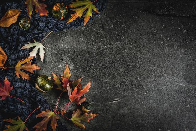 Il fondo di pietra scuro di caduta con le foglie rosse e gialle di autunno riscalda il maglione o la coperta e le piccole zucche, spazio della copia di vista superiore Foto Premium