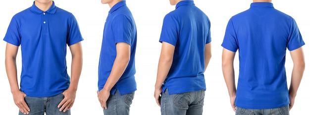 Il giovane uomo asiatico indossa una maglietta polo blu Foto Premium