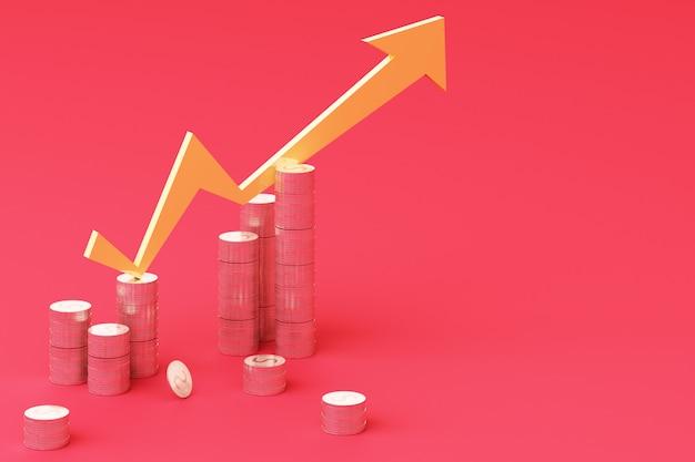 Il grafico 3d del grafico di crescita di affari del grafico delle monete rende Foto Premium