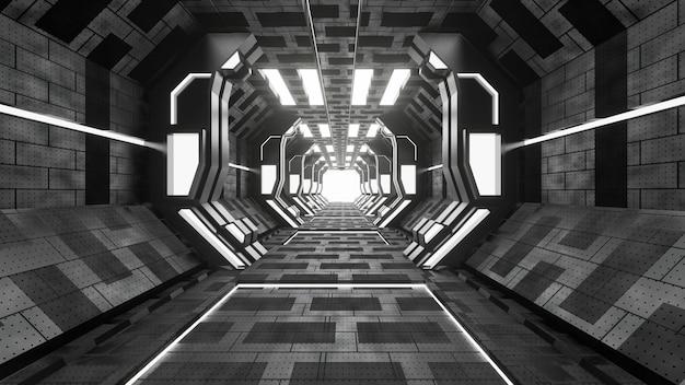 Il lerciume di fantascienza ha danneggiato il fondo metallico del corridoio illuminato con le luci al neon 3d rende - illustrazione Foto Premium