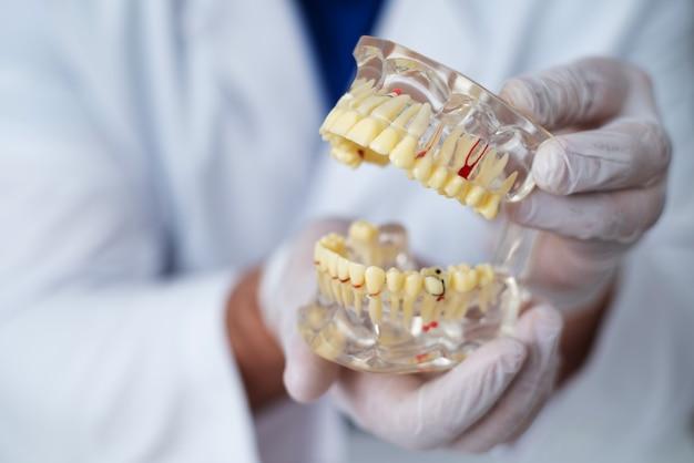 Il medico ortodontista mostra lo strumento sulla carie nei denti Foto Premium