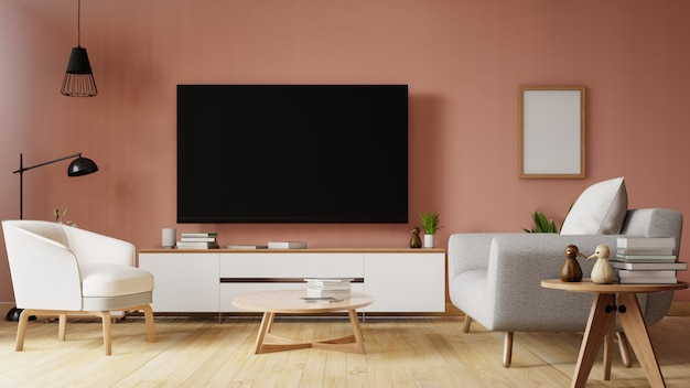 Il moderno soggiorno con divano bianco ha mobili e ripiani ...
