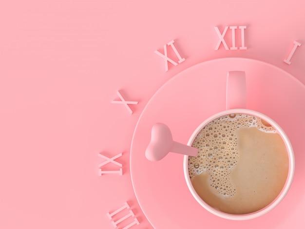 Il momento del concetto di idea d'amore. la tazza di rosa del caffè del latte su fondo pastello rosa con lo spazio della copia per il vostro testo, 3d rende. Foto Premium