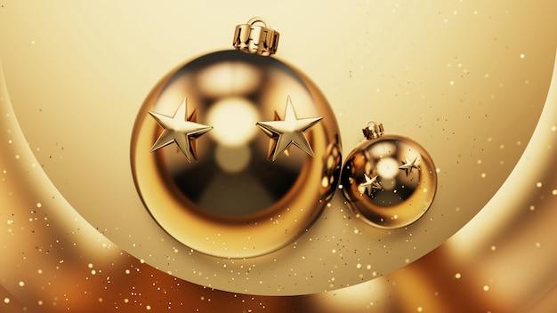 Il natale decora su fondo oro. illustrazione 3d Foto Premium
