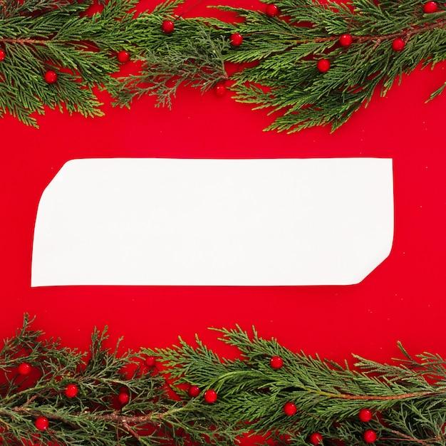 Il pino di natale lascia su un rosso con una cartolina d'auguri in bianco Foto Gratuite