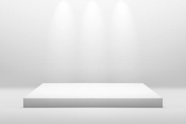 Il podio bianco sta per la mostra o il concetto della presentazione sul fondo moderno della stanza con illumina la luce Foto Premium