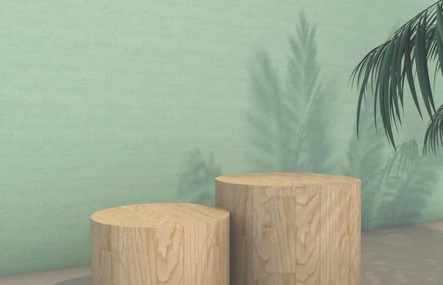 Il podio con la palma tropicale lascia l'ombra per l'esposizione del prodotto cosmetico. rendering 3d. Foto Premium