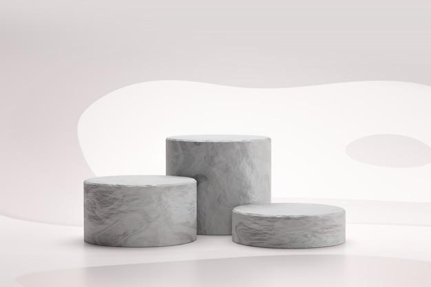Il podio di pietra o il podio della roccia stanno su fondo bianco astratto con il concetto di marmo. piedistallo del display del prodotto per il design. rendering 3d. Foto Premium