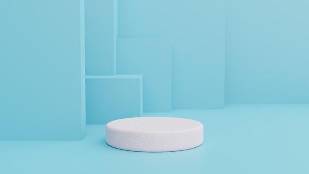 Il podio in composizione blu astratta, 3d rende Foto Premium