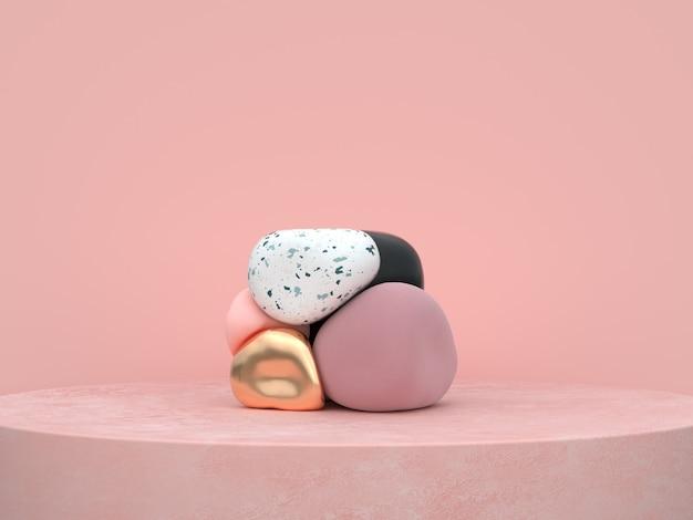 Il podio organico astratto di forma rosa del fondo ha messo la rappresentazione 3d Foto Premium
