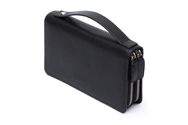 Il portafoglio di cuoio nero degli uomini isolato su fondo bianco Foto Premium