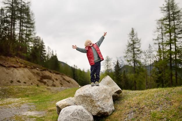 Il ragazzino sveglio cammina in parco nazionale svizzero sulla molla. escursionismo con bambini piccoli. Foto Premium