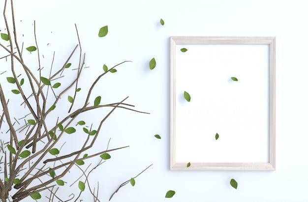 Il ramo e il colpo di albero lascia sulla parete del cemento bianco con la cornice. rendering 3d di sfondo. Foto Premium